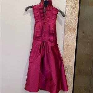 Magenta backless halter dress